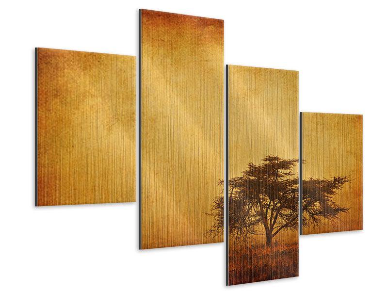 Metallic-Bild 4-teilig modern Sonnenuntergangsstimmung