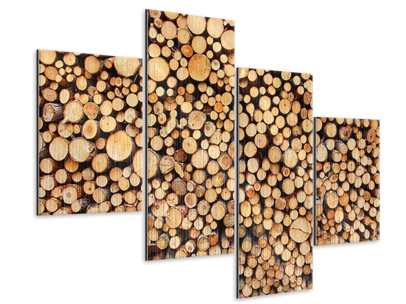 Metallic-Bild 4-teilig modern Holzstämme