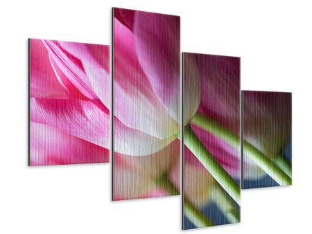 Metallic-Bild 4-teilig modern Makro Tulpen