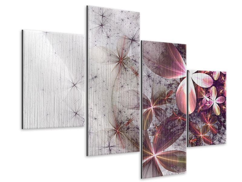 Metallic-Bild 4-teilig modern Abstrakte Blumen
