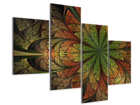 Metallic-Bild 4-teilig modern Abstraktes Blumenmuster