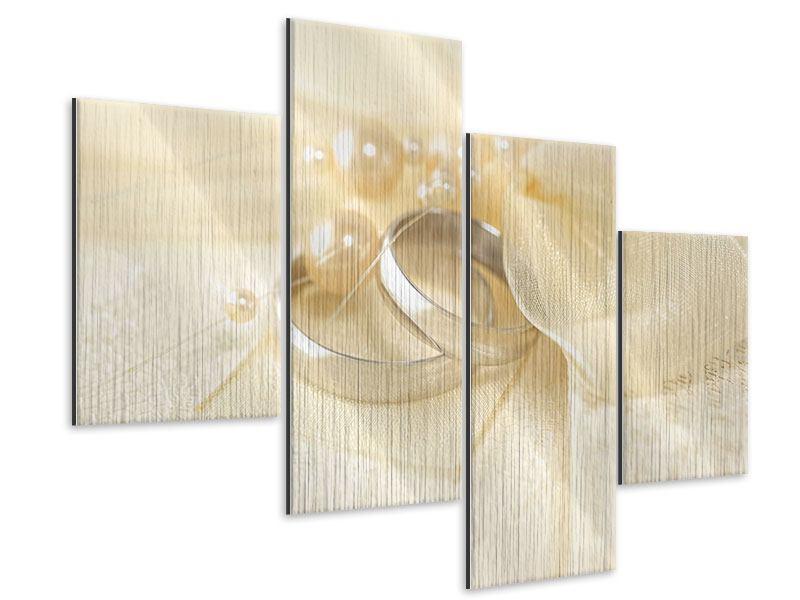 Metallic-Bild 4-teilig modern Trauringe