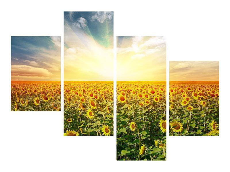 Metallic-Bild 4-teilig modern Ein Feld voller Sonnenblumen