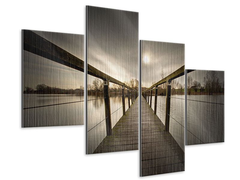 Metallic-Bild 4-teilig modern Die Holzbrücke