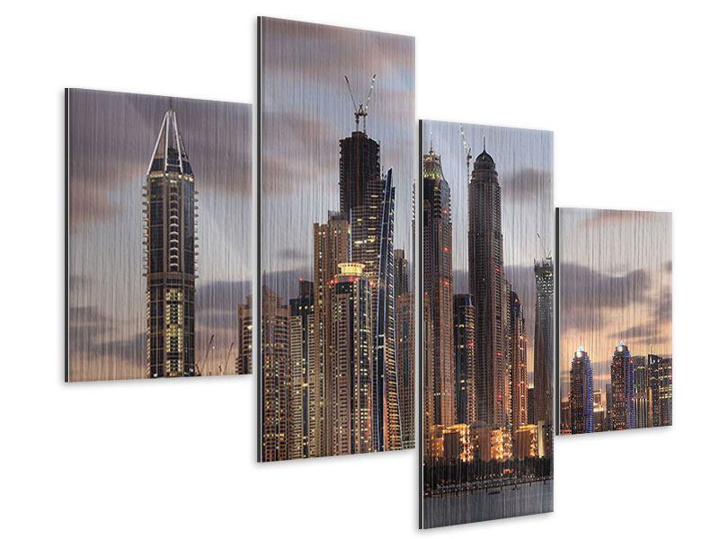 Metallic-Bild 4-teilig modern Skyline Dubai bei Sonnenuntergang