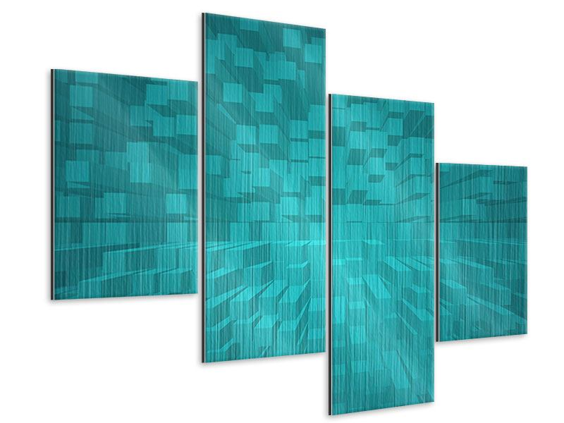 Metallic-Bild 4-teilig modern 3D-Kubusse
