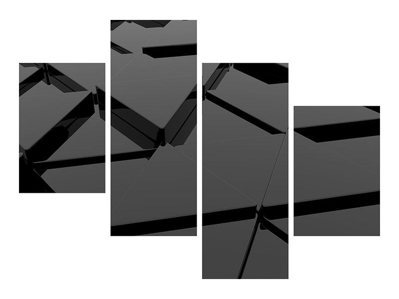 Metallic-Bild 4-teilig modern 3D-Dreiecksflächen