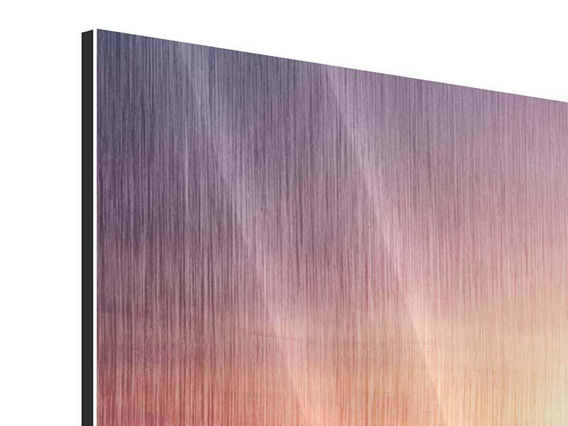 Metallic-Bild 4-teilig modern Sonnenuntergang auf See