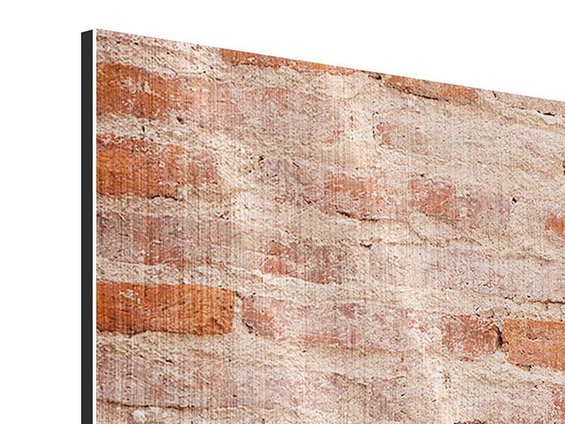Metallic-Bild 4-teilig modern Mauerwerk