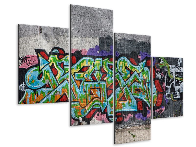 Metallic-Bild 4-teilig modern Graffiti in New York
