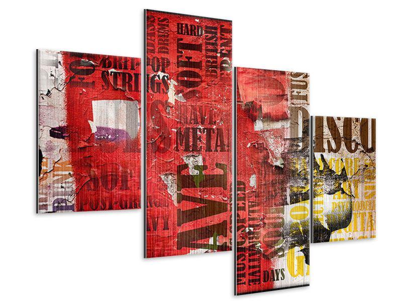 Metallic-Bild 4-teilig modern Musiktext im Grungestil