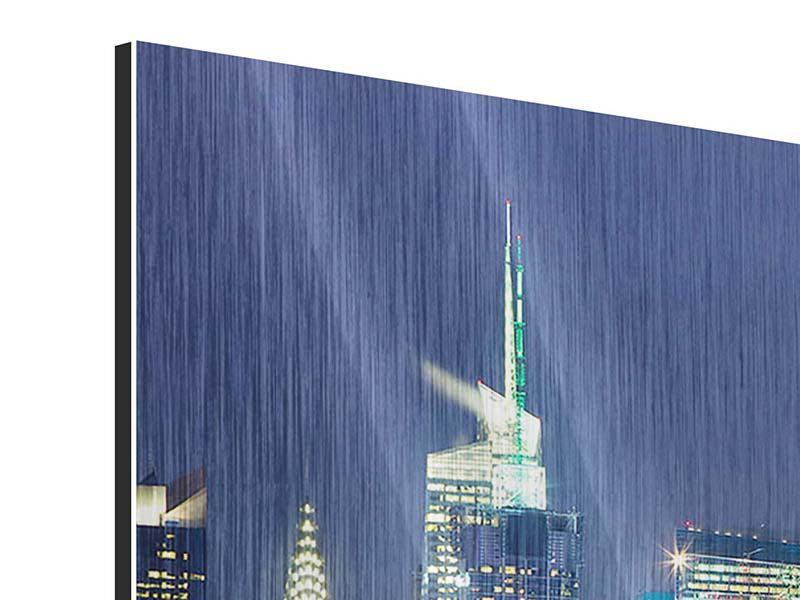 Metallic-Bild 4-teilig modern Skyline New York Midtown bei Nacht