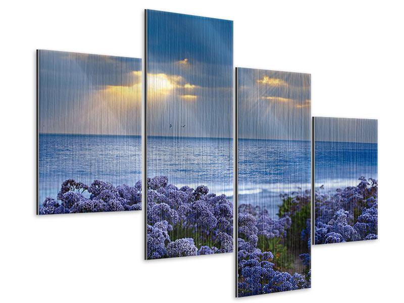 Metallic-Bild 4-teilig modern Der Lavendel und das Meer