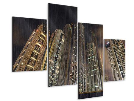 Metallic-Bild 4-teilig modern Wolkenkratzer Dubai Marina