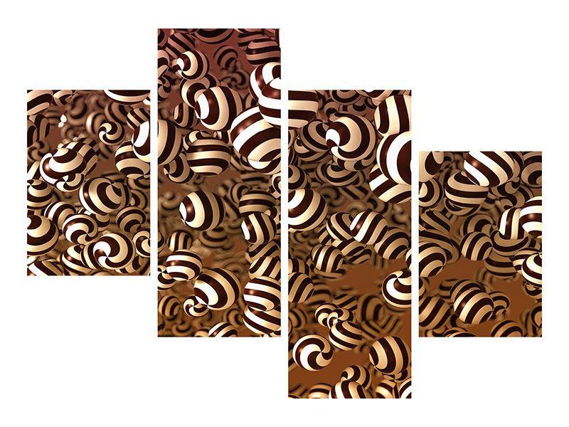 Metallic-Bild 4-teilig modern Schokoladen-Bonbons