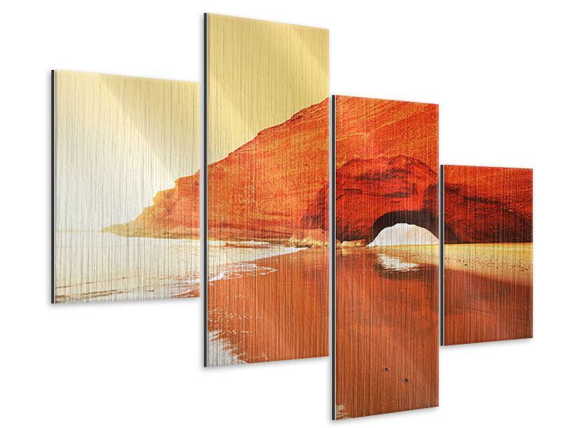 Metallic-Bild 4-teilig modern Wasserspiegelung