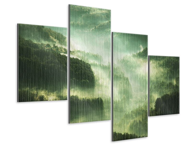 Metallic-Bild 4-teilig modern Über den Wäldern
