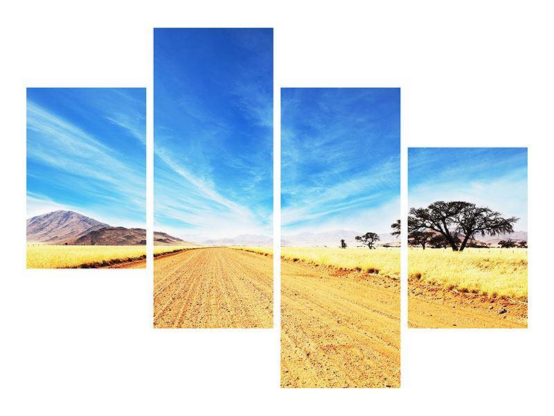 Metallic-Bild 4-teilig modern Eine Landschaft in Afrika