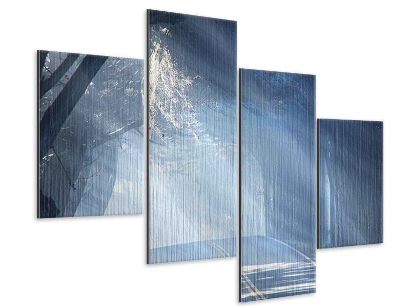 Metallic-Bild 4-teilig modern Lichtdurchflutete Baumallee