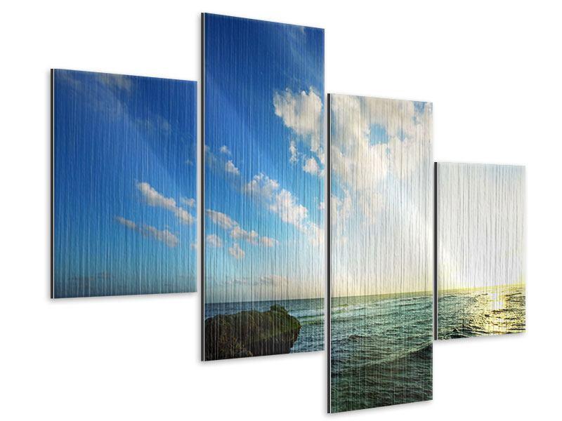 Metallic-Bild 4-teilig modern Die See