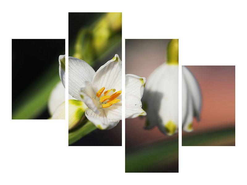 Metallic-Bild 4-teilig modern Schneeglöckchen XXL