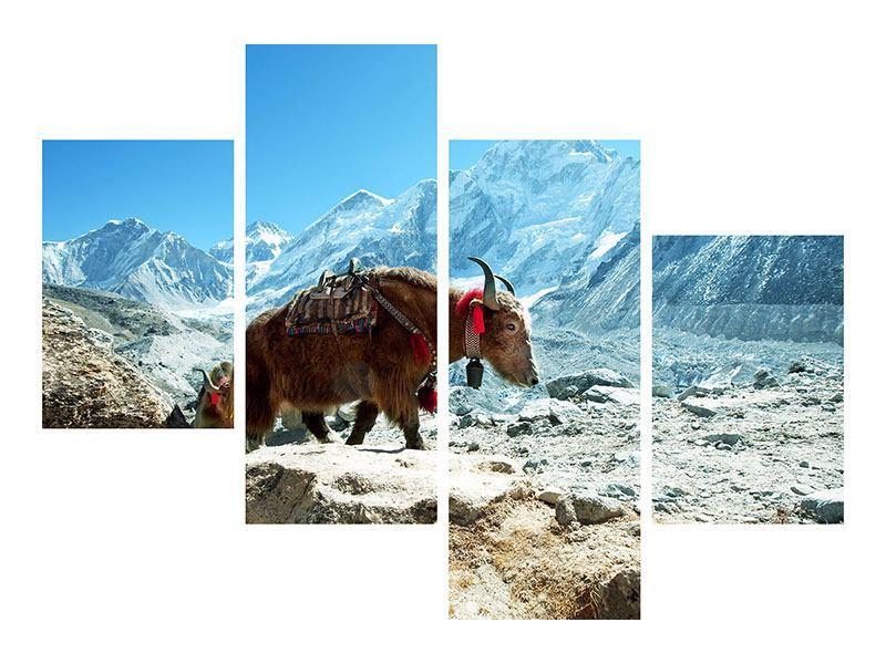 Metallic-Bild 4-teilig modern Das Himalaya-Gebirge
