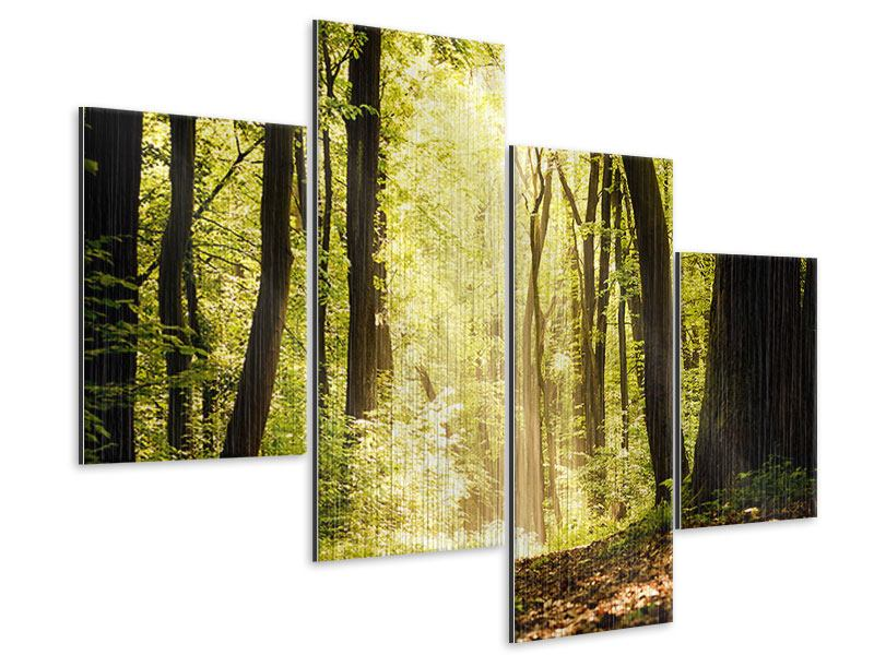 Metallic-Bild 4-teilig modern Sonnenaufgang im Wald
