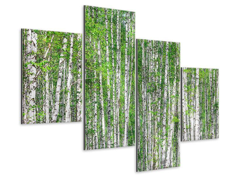 Metallic-Bild 4-teilig modern Der Birkenwald