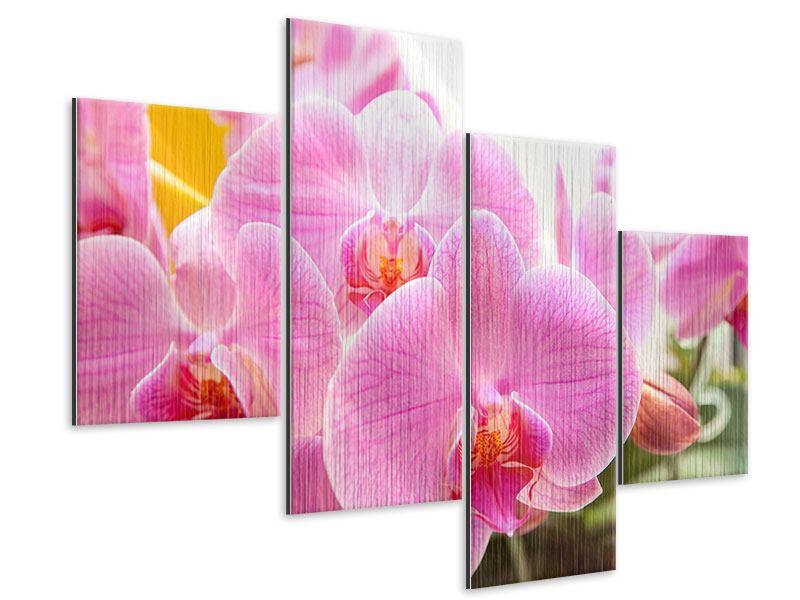 Metallic-Bild 4-teilig modern Königliche Orchideen
