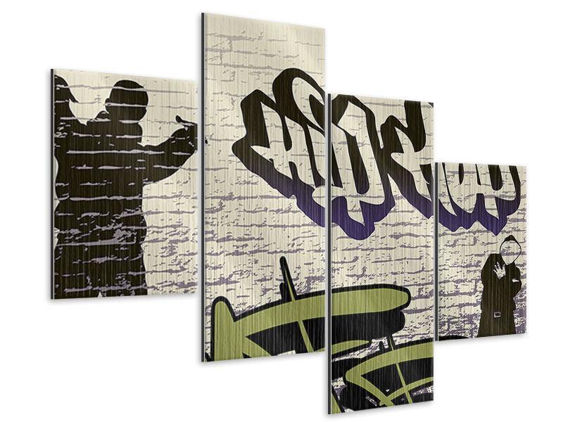 Metallic-Bild 4-teilig modern Graffiti Hip Hop