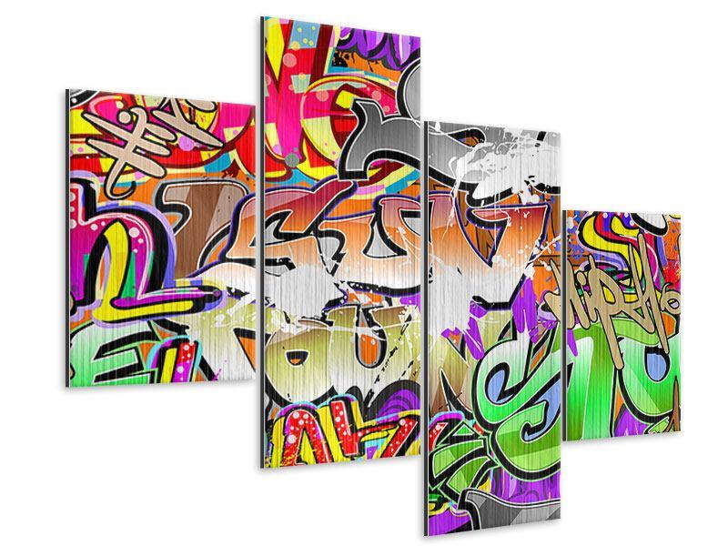 Metallic-Bild 4-teilig modern Writings