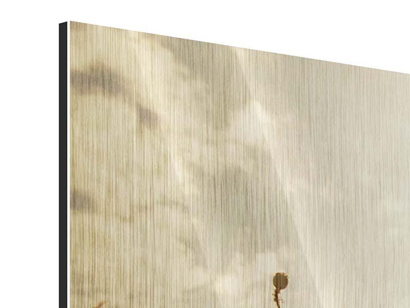 Metallic-Bild 4-teilig modern Das Mohnfeld bei Sonnenaufgang