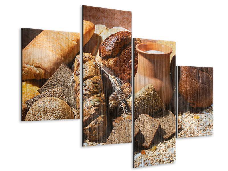 Metallic-Bild 4-teilig modern Frühstücksbrote