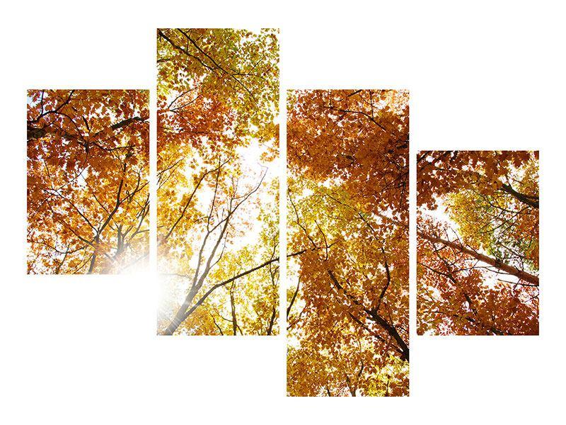 Metallic-Bild 4-teilig modern Herbstbäume