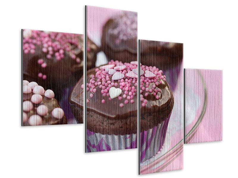 Metallic-Bild 4-teilig modern Muffins