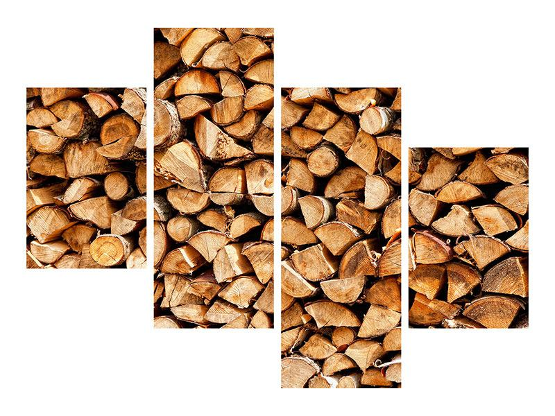 Metallic-Bild 4-teilig modern Gestapeltes Holz