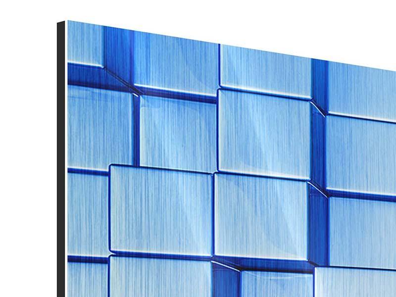 Metallic-Bild 4-teilig modern 3D-Symetrie