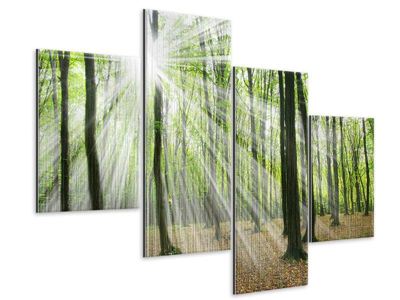 Metallic-Bild 4-teilig modern Magisches Licht in den Bäumen