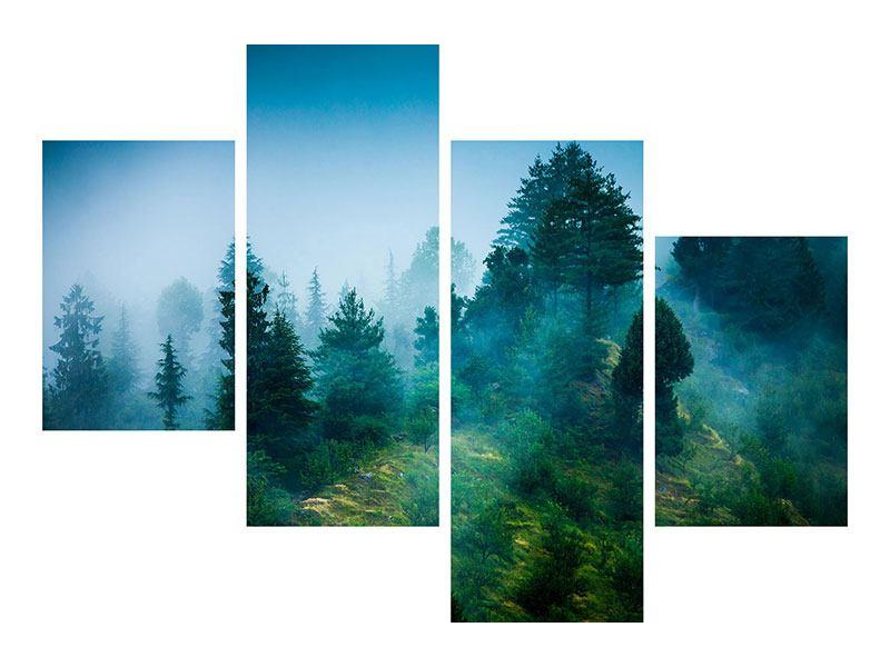 Metallic-Bild 4-teilig modern Geheimnisvoller Wald