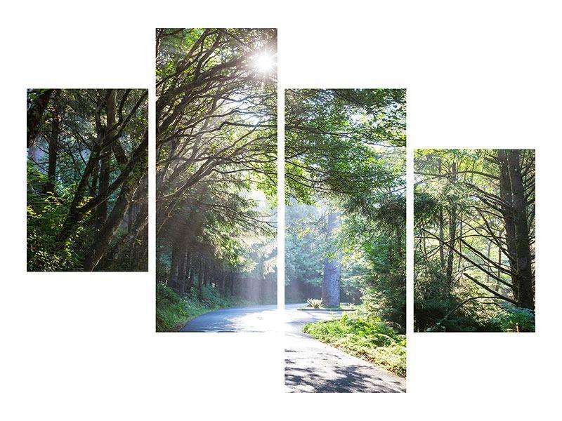 Metallic-Bild 4-teilig modern Sonniger Waldweg