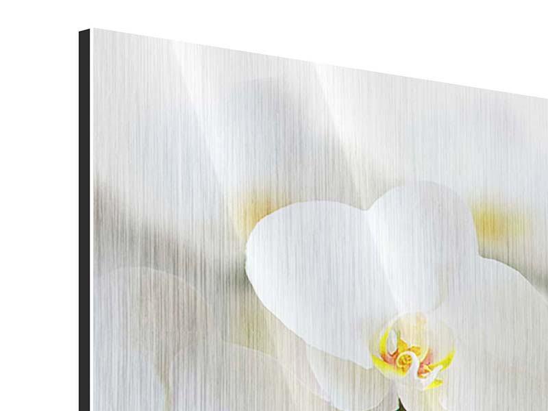 Metallic-Bild 4-teilig modern Weisse Orchideen