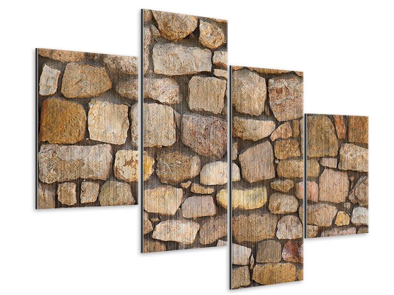 Metallic-Bild 4-teilig modern Alte Ziegel