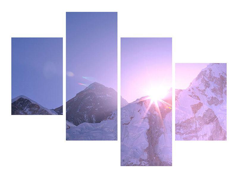 Metallic-Bild 4-teilig modern Sonnenaufgang beim Mount Everest