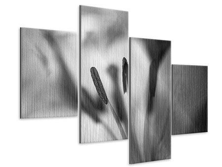 Metallic-Bild 4-teilig modern Makro Lilienblatt