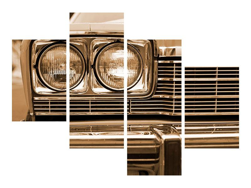Metallic-Bild 4-teilig modern Oldtimer Close up