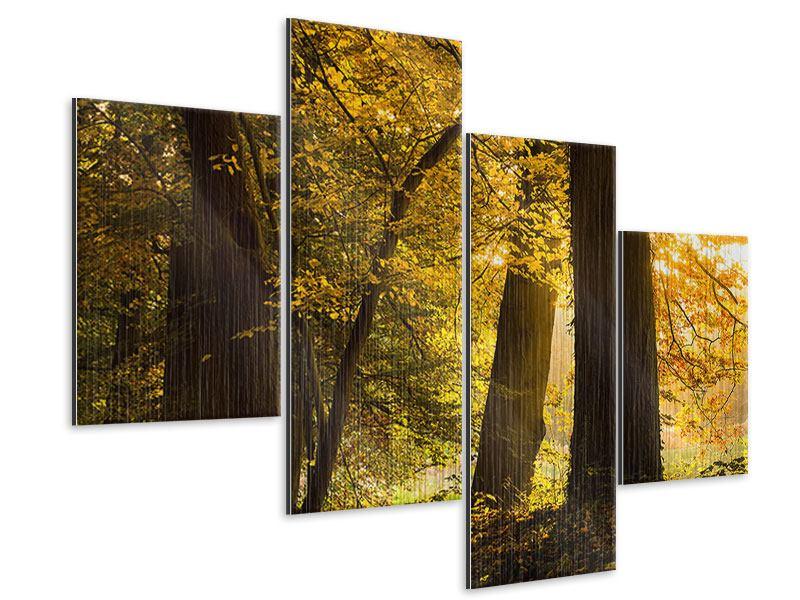 Metallic-Bild 4-teilig modern Herbstlaub
