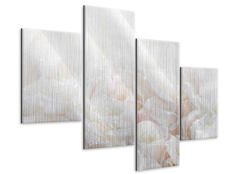 Metallic-Bild 4-teilig modern Weisse Rosen im Morgentau