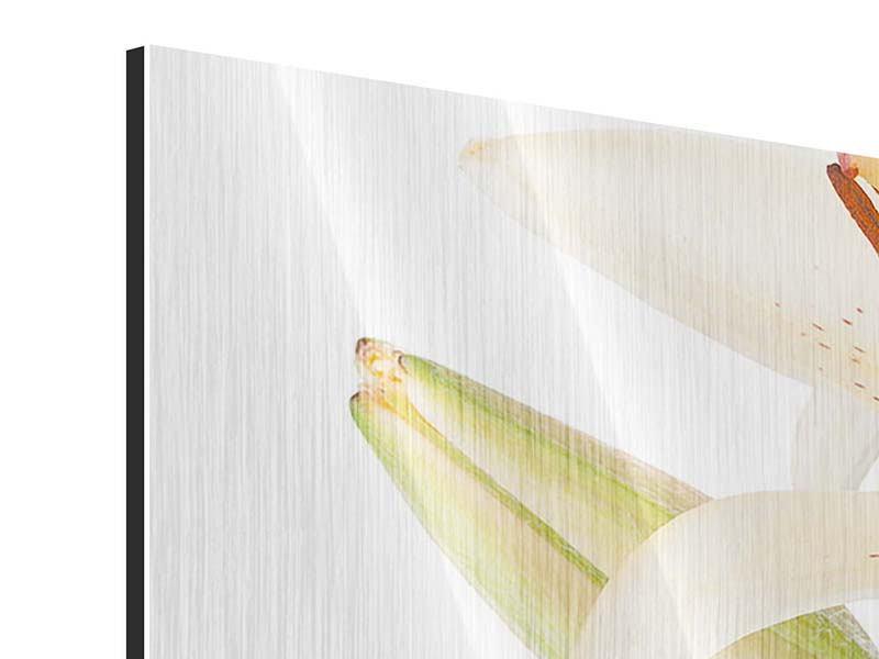 Metallic-Bild 4-teilig modern Weisser Lilienstrauch