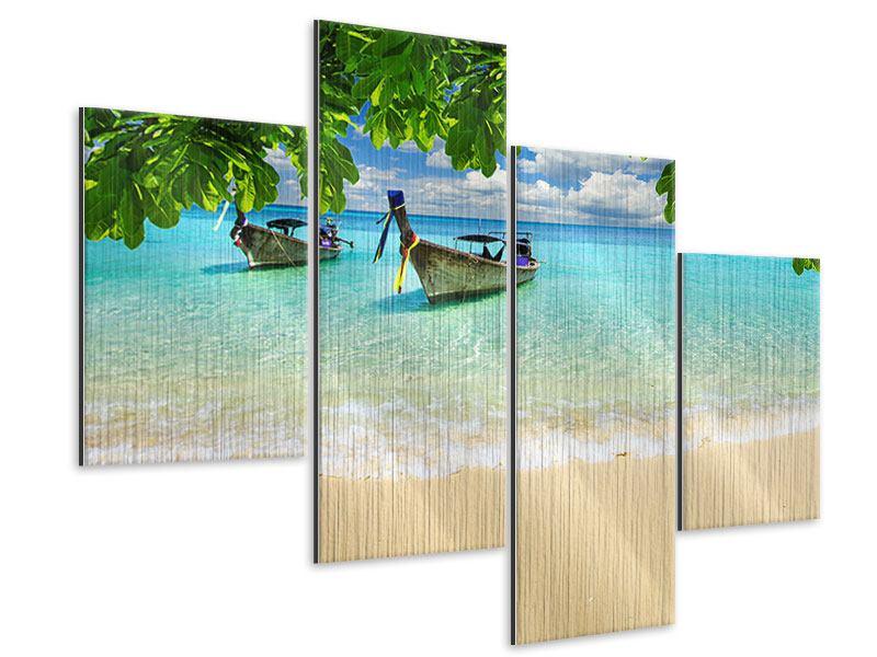 Metallic-Bild 4-teilig modern Ein Blick auf das Meer