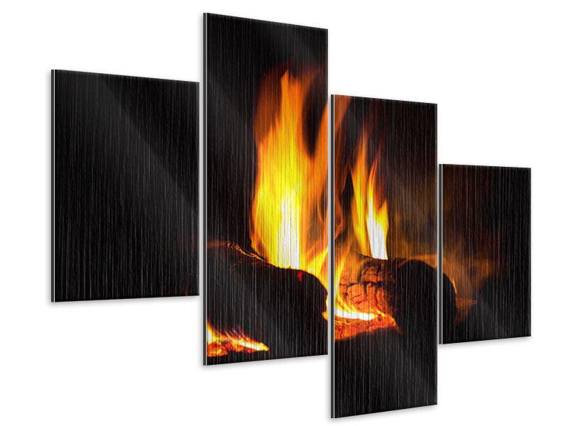 Metallic-Bild 4-teilig modern Der Kamin